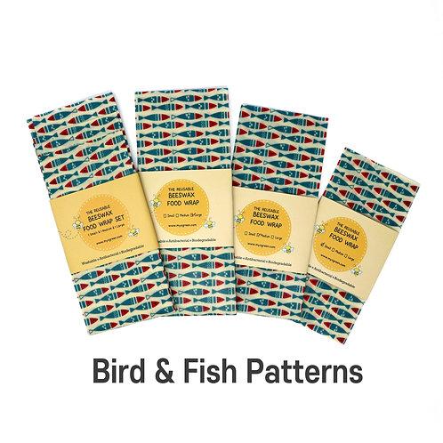 Birds & Fish Printed Beeswax wax  food wrap Reusable food wrap Zero waste