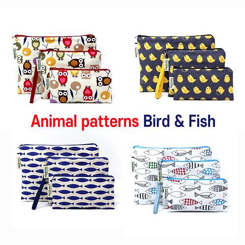 Animal, Fish Whale & Bird print Reusable pouch set Washable waterproof bag