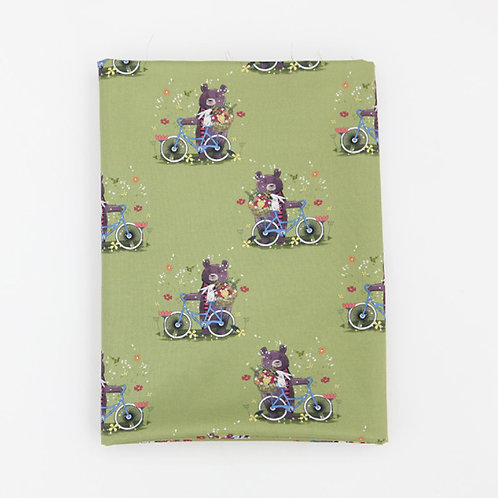 [Animal Pattern] Bicycles and Bear, 100% Cotton Fabric by the yard, DTP print,