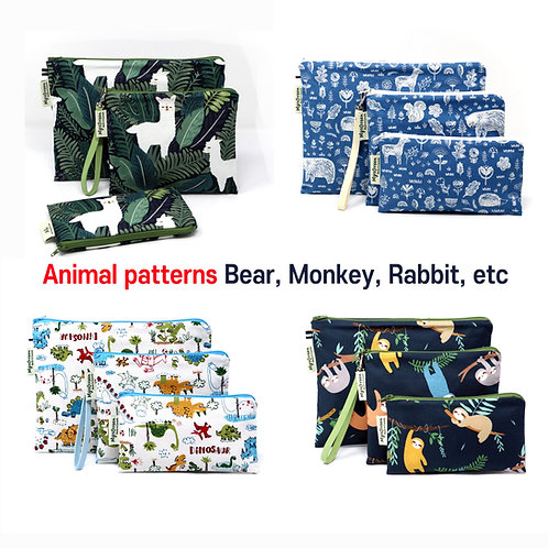 Animal -Bear Monkey Rabbit etc- print Reusable pouch set Washable waterproof bag