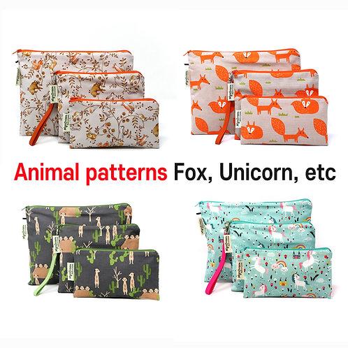 Animal -Fox Unicorn Deer etc- print Reusable pouch set Washable waterproof bag