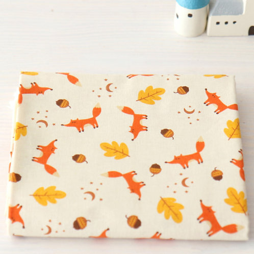 [Animal Pattern] Fox and Leaf, 100% Cotton Fabric by the yard, Free shipping