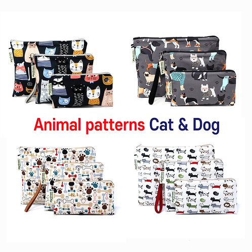 Animal, Dog Puppy & Cat print Reusable pouch sets Washable waterproof bag