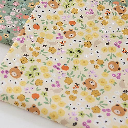 [Animal Pattern] Honey Bear print 100% Cotton Fabric by the yard, DTP