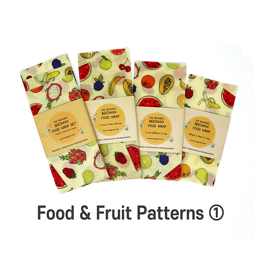 Food Fruit Printed ① Beeswax food wrap, Beeswax Wraps, Reusable wrap, Zero Waste