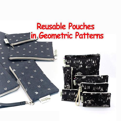 Geometric pattern pouch, Reusable pouch, Reusable bag, Washable bag, Zipper bag