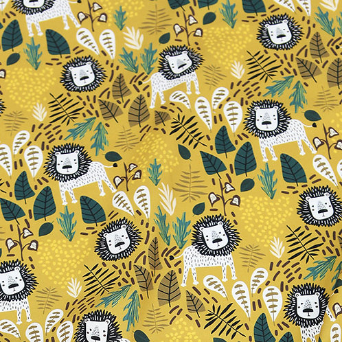 [Animal Pattern] Lion in the Jungle, 100% Cotton Fabric by the yard, DTP
