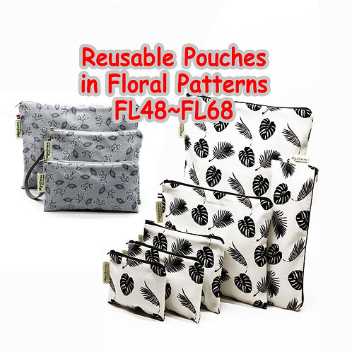 Floral pouches, Reusable pouch, Reusable bag, Washable bag, Zipper bag