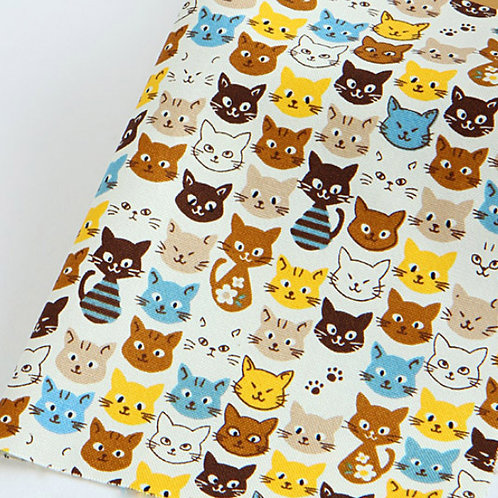 [Animal Pattern] Mischievous Cats, Oxford Cotton Fabric by the yard, Free Shippi