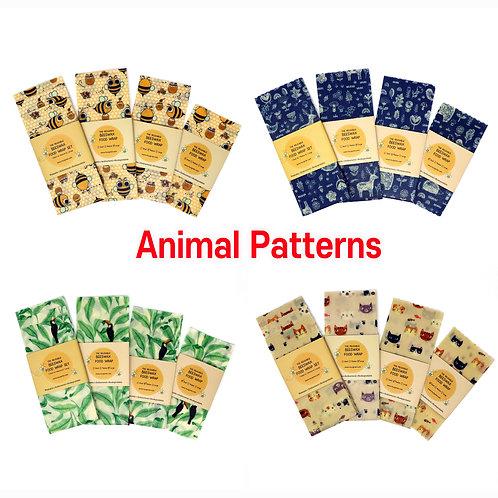 Animal Printed beeswax food wraps, Beeswax Food Wraps, Reusable wrap, Zero Waste