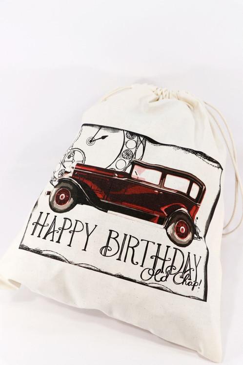 Happy Birthday Old Car Gift Bag Storage