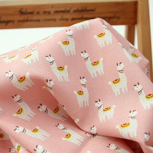 [Animal Pattern] Pink Lama, 100% Cotton Fabric by the yard, Free Shipping