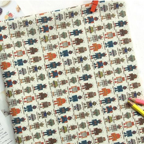 [Robot Pattern] Mini Robot, 100% Cotton Fabric by the yard, DTP, free shipping