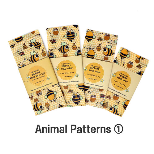 Animal Printed ① Beeswax wax  food wrap Reusable food wrap Zero waste