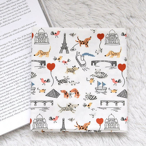 [Lifestyle Pattern] Mini Paris France, 100% Cotton Fabric by the yard, DTP