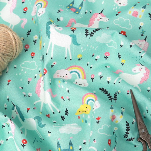 [Animal Pattern] Unicorn and Rainbow, 100% Cotton Fabric by the yard, DTP