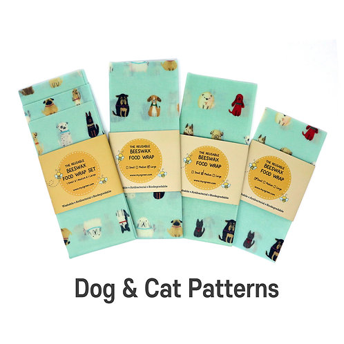Cats & Dogs Printed Beeswax wax  food wrap Reusable food wrap Zero waste