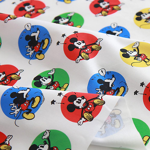 [Disney Pattern] Mickey Mouse Wappen print 100% Cotton Fabric by the yard DTP
