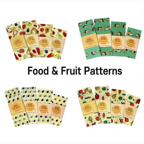 Food Printed beeswax food wrap, Beeswax Wraps, Reusable wrap, Zero Waste, Fruit