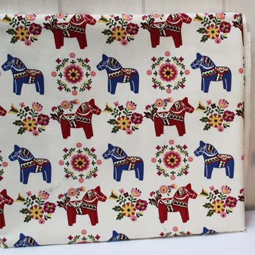 [Animal Pattern] Dala Horse, Oxford Cotton Fabric by the yard, Free Shipping