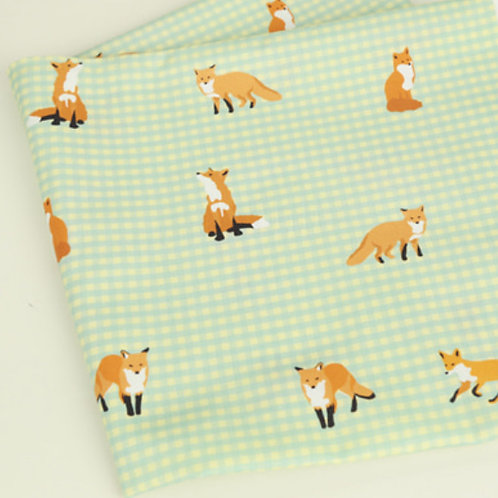 [Animal Pattern] Fox and Check print 100% Cotton Fabric by the yard DTP