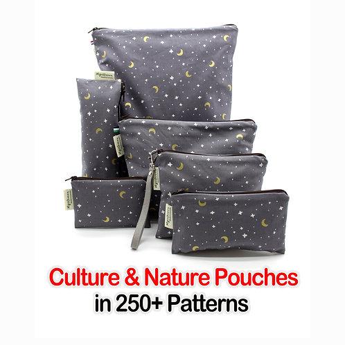 Culture & Nature pouches, Reusable pouch, Reusable bag, Washable bag, Zipper bag