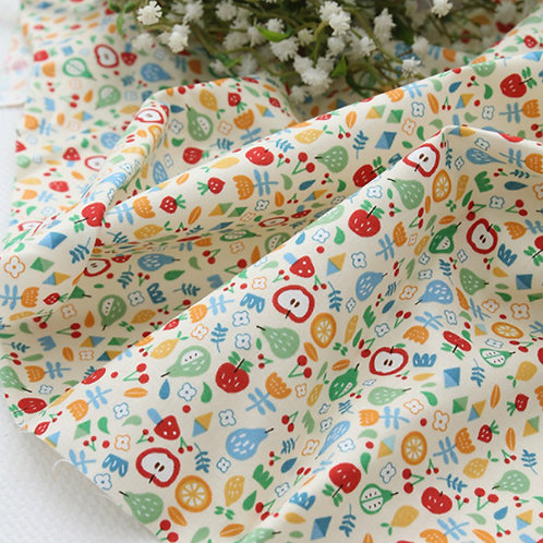 [Food Pattern] Apple & Strawberry print 100% Cotton Fabric by the yard DTP