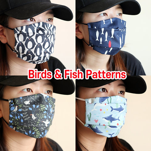 Birds & Fish printed mask Reusable face mask with filter pocket Washable Cotton