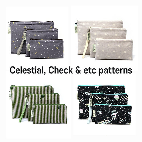 Celestial, Check, etc print Reusable pouch set Washable waterproof zippered bag