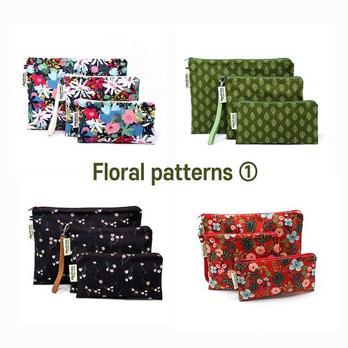 Floral, Plant print 01 Reusable pouch set Washable waterproof bag Zipper bag