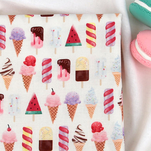 [Food Pattern] Cute Ice cream print 100% Cotton Fabric by the yard DTP