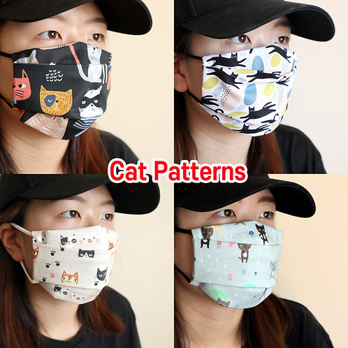 Cats printed mask Reusable face mask with filter pocket Washable Cotton Mask