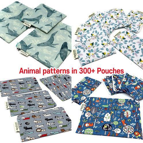 Animal Printed Reusable pouch set Zipper bag Washable bag Snack Bag