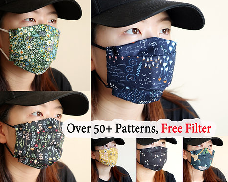 Reusable Cotton Face Mask with Filter Pocket, Washable 2 Layer Cloth, Free Size