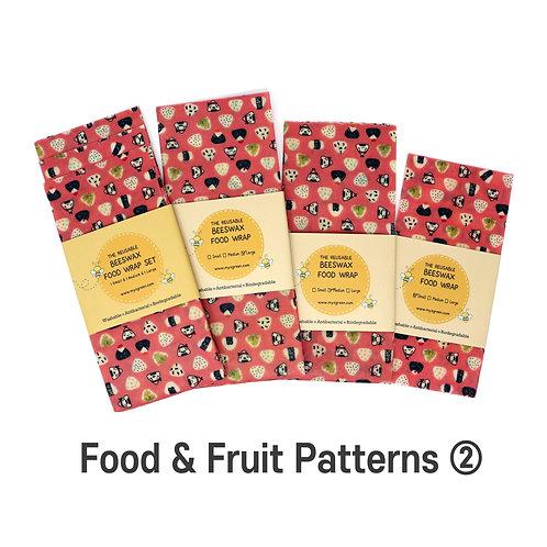 Food Fruit Printed ② Beeswax food wrap, Beeswax Wraps, Reusable wrap, Zero waste