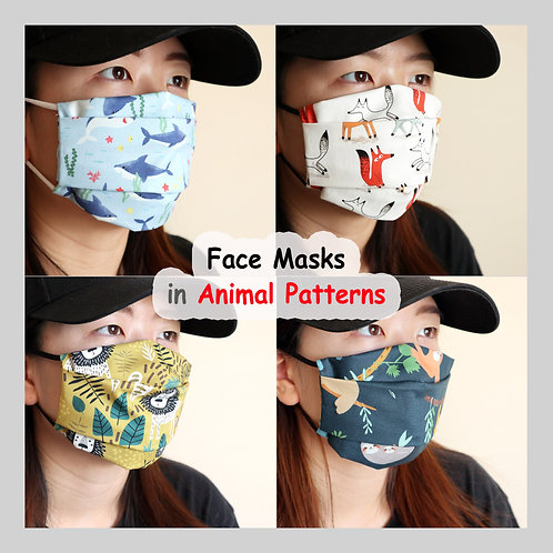 Animal face mask, Reusable Face Mask with Filter Pocket, Washable mask, cotton
