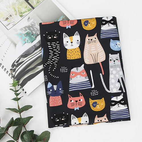 [Animal Pattern] Fashion Star Cat, 100% Cotton Fabric by the yard, DTP