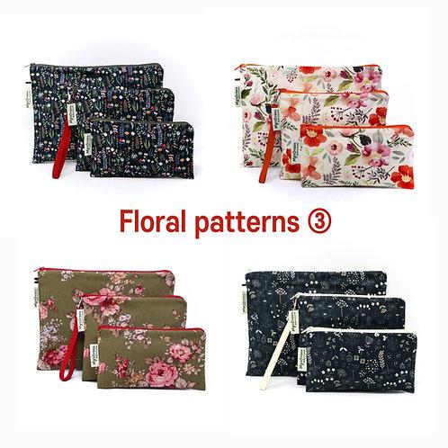 Floral, Plant print 03 Reusable pouch set Washable waterproof bag Zipper bag