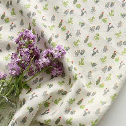 [Floral Pattern] Cactus in Jeju Island, 100% Cotton Fabric by the yard,