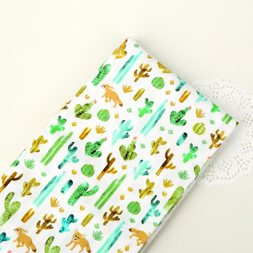 [Floral & Animal Pattern] Fox and Cactus, 100% Cotton Fabric by the yard, DTP