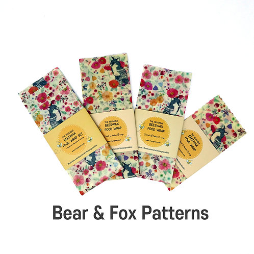Bears & Foxes Printed Beeswax wax  food wrap Reusable food wrap Zero waste