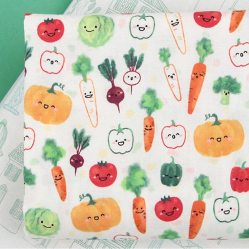 [Food Pattern] Smiling Vegetable, 100% Cotton Fabric by the yard, DTP