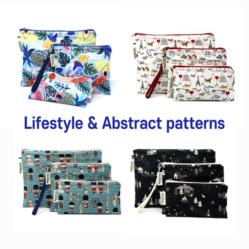 Lifestyle & Abstract print Reusable pouch set Washable waterproof bag Zipper bag