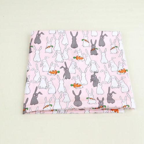 [Animal Pattern] Rabbits and carrots, 100% Cotton Fabric by the yard, DTP