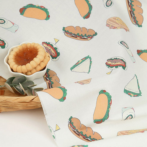 [Food Pattern] Sandwich print 100% Cotton Fabric by the yard DTP
