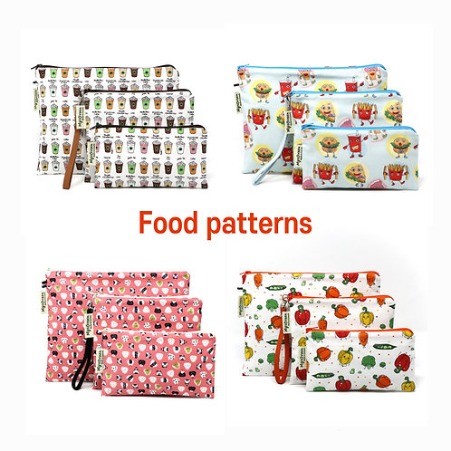 Food patterns Reusable pouch set Washable waterproof bag Zipper bag