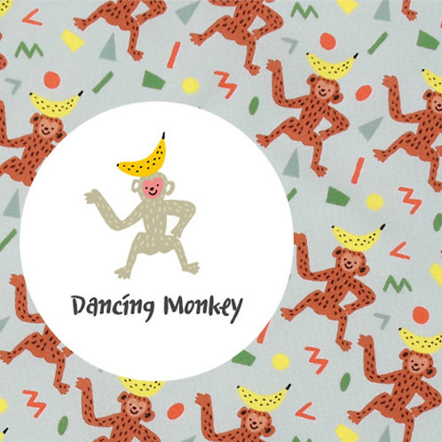 [Animal Pattern] Dancing Monkey, 100% Cotton Fabric by the yard, DTP