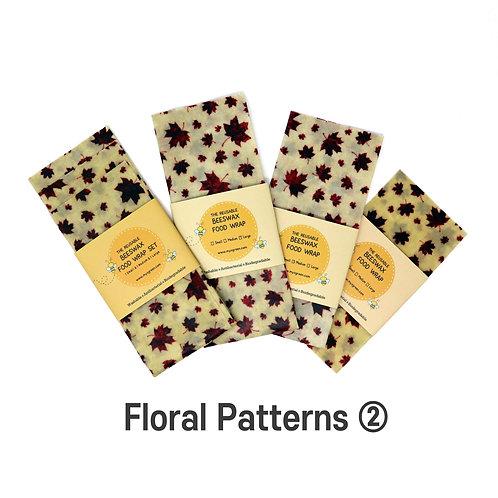 Floral Printed ② Beeswax Food Wraps, Reusable wrap, Zero Waste