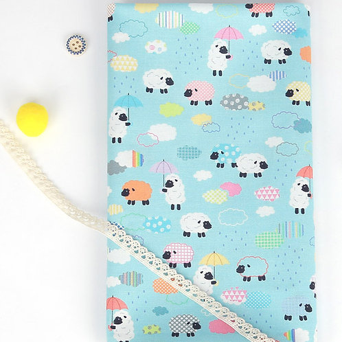 [Animal Pattern] Rain, Flowers and Sheep, 100% Cotton Fabric by the yard, DTP