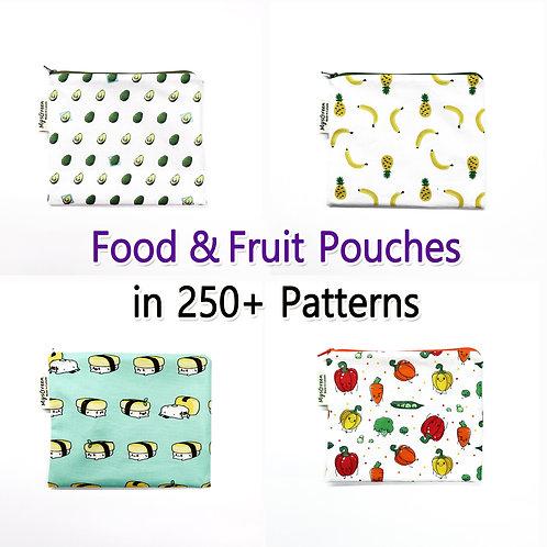 Food patterns pouches, Reusable pouch, Reusable bag, Washable bag, Zipper bag